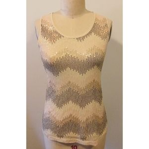 Cato Nude Sequin Zigzag Tank Top Small Sequence